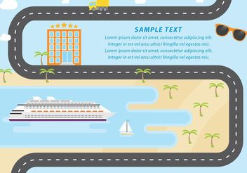 Cruise Liner And Beach Vector - Free vector #145429