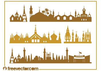Churches And Skylines - vector gratuit #145439