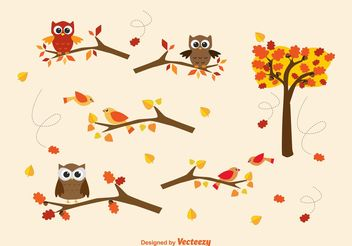 Vector Autumn Branches & Owls - Free vector #145669