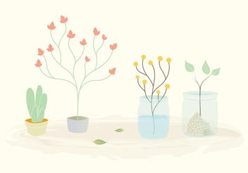Free Vector Plants in Pots and Jars - бесплатный vector #145829