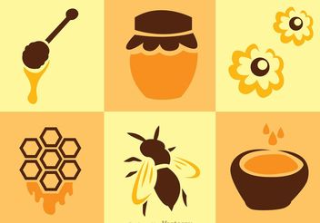 Bee And Honey Vectors - бесплатный vector #146189