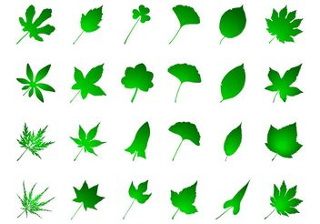 Green Leaves Set - vector gratuit #146449