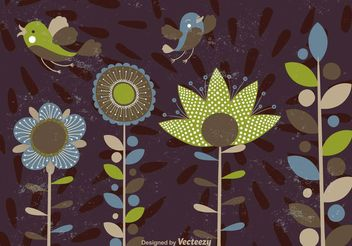 Abstract Flowers Shapes and Birds - Free vector #146659