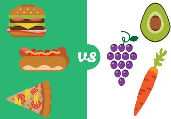 Healthy Food Versus Bad Food - vector gratuit #146839