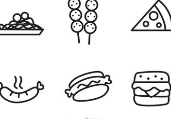 Outlined Food Icons Vectors - Free vector #146859