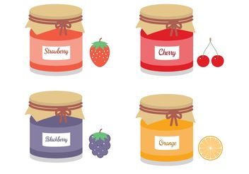 Free Mason Jars With Fruit Jams Vector - бесплатный vector #147079