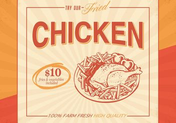 Free Retro Fried Chicken Vector Poster - vector gratuit #147269