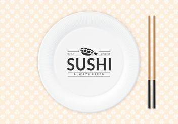 Free Sushi Logo On Paper Plate Vector - Free vector #147349