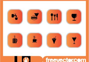 Foods And Drinks Icons Set - vector gratuit #147409