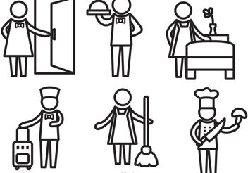 Hotel Service Outline Icons Vectors - Free vector #147979