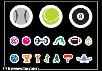 Sports Sticker Set - Kostenloses vector #148319