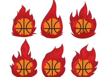 Basketball on Fire Vector Pack - Free vector #148349