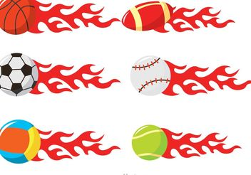 Sport Balls On Fire Vectors - vector gratuit #148409