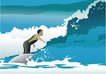 Surfer Ocean Waves Vector - vector gratuit #148489