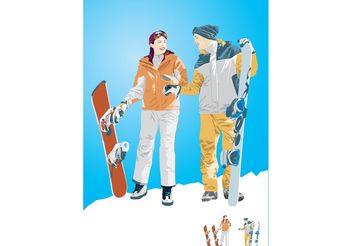 Snowboard Boy & Girl Illustration - Free vector #148889