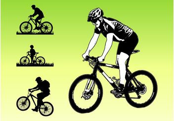 Bikers Silhouettes - Free vector #149019