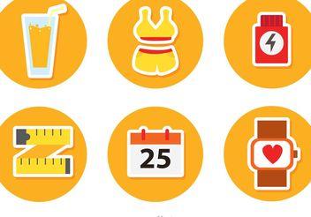 Circulr Healthy Lifestyle Vector Icons - Free vector #149209