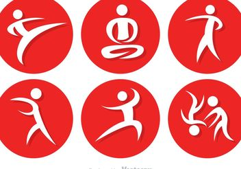 Asian Martial Arts Icons - Free vector #149229