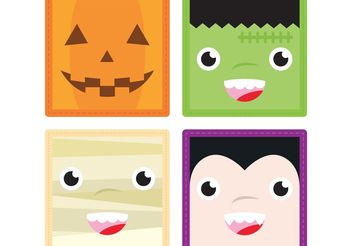 Halloween Faces Vectors 1 - Free vector #149289