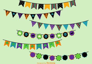 Halloween Party Vector Buntings - Free vector #149349