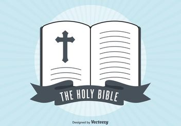 Retro Open Bible Illustration - Free vector #149409