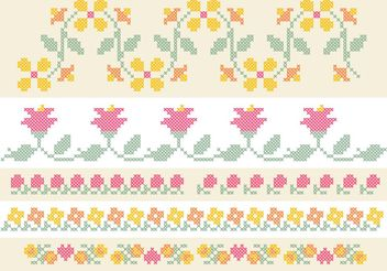 Cross Stitch Flower Border Set - Free vector #149429