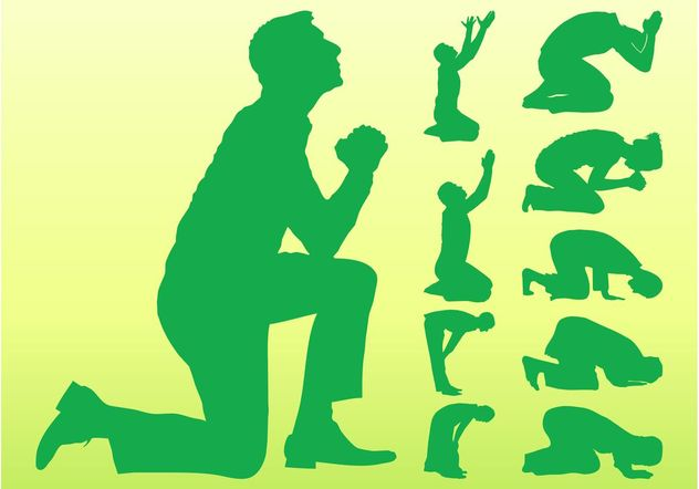 Praying People Silhouettes - Free vector #149739