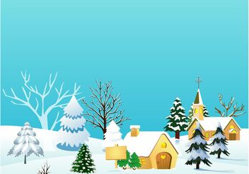 Christmas Village Vector Illustration - Free vector #149939