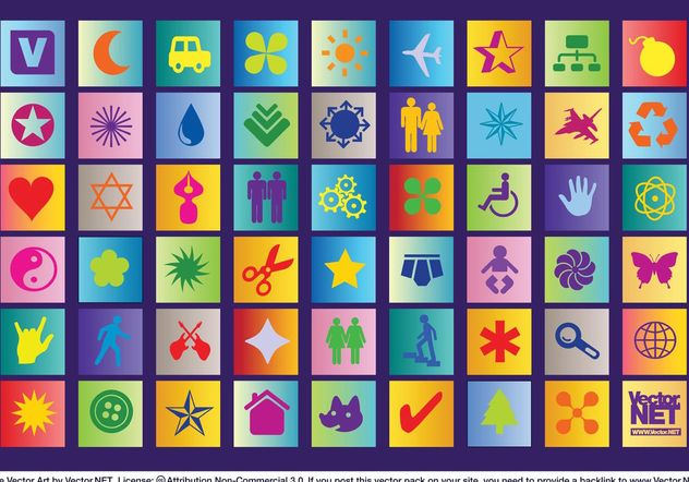 Colorful Icon Vectors - Free vector #150009