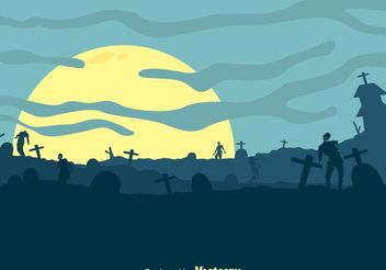 Vector Zombies In Cemetery Hills - Free vector #150229