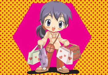 Anime Shopping Girl Vector - Free vector #150409