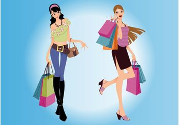 Shopping Women Vector - vector gratuit #150459
