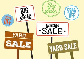 Yard Sale Sign Vectors - vector #150489 gratis