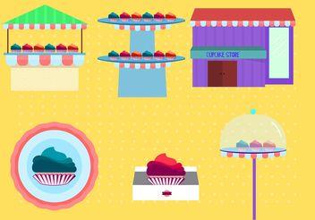 Cupcake Store Vectors - Kostenloses vector #150519