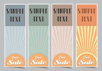Vertical Retro Sunburst Vector Banners - vector gratuit #150789