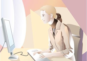 Woman Working With Computer - vector gratuit #152209