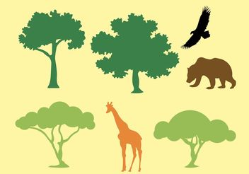 Vector Silhouette of Trees and Animals - Free vector #152869
