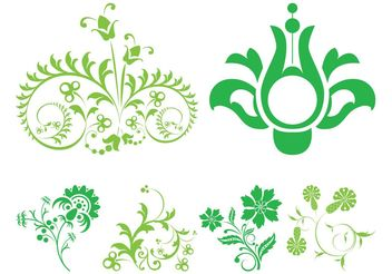 Green Floral Scrolls - Free vector #153059