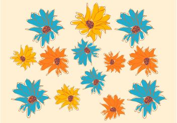 Flowers Drawings - Free vector #153319