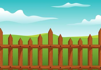 Wooden Picket Fence Vector - vector gratuit(e) #153349