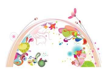 Arc And Flowers - Free vector #153359