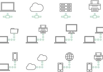 Big Data Network Icon Vectors - Free vector #153619