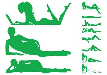 Lying Women Silhouettes - vector gratuit #154019