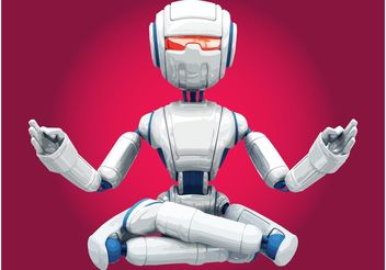 Meditating Robot - Free vector #154369