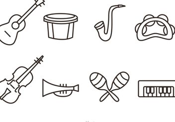 Outline Music Instrument Vector Icons - Free vector #155419