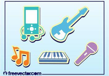 Music Stickers - vector gratuit #155429