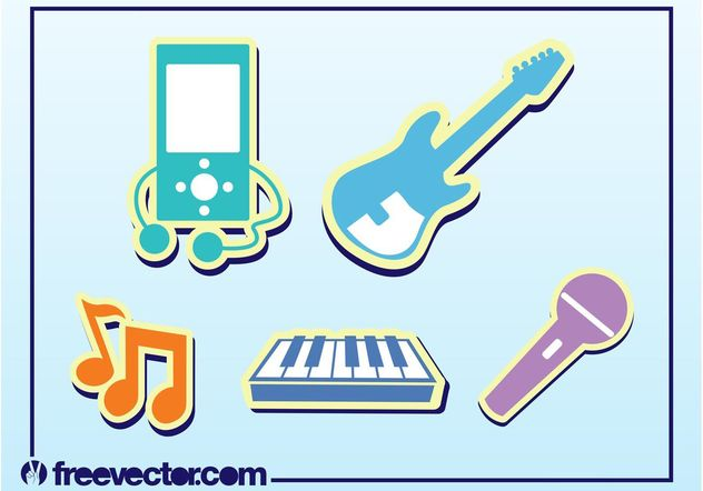 Music Stickers - Kostenloses vector #155429