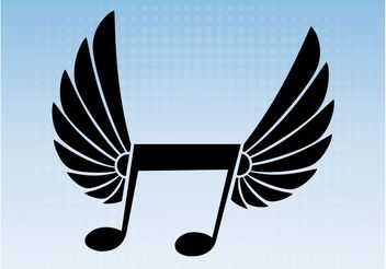 Winged Music Note Vector - Free vector #155789