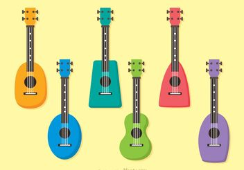 Colorful Ukulele Vectors - Free vector #156009