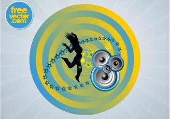 Dancing Girl Badge - Free vector #156039